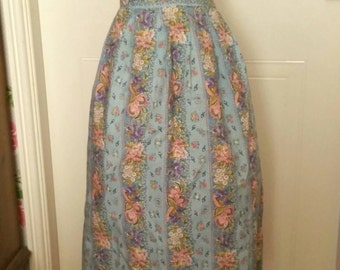Vintage Half Apron / Pinny with Floral Print in blue, pink and yellow.