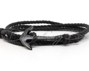 Black Twisted Cotton Rope Anchor Bracelet