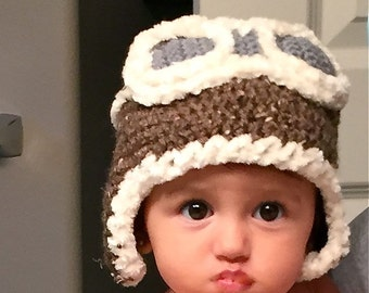 Crochet Aviator Hat - Sizes 0-3 Months to Adult