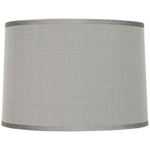 Items Similar To Gray Dupioni Silk Drum Lamp Shade
