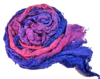 Mulberry silk Lap hand-dyed in tones of Royal , Violet , Lavender and Pink