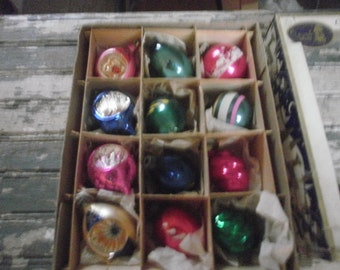 1960s Vintage Mercury Glass Christmas Ornaments Tree Trimming 12 Boxed Ornaments