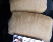 Hand Processed and Handcrafted - 100% Natural Shades of Fawn Alpaca Fiber Blended Carded Batt 2 Pack - 3.0 Ounces.