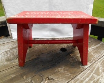 Vintage Wood Foot Stool Childs Red Step Stool Small Wood