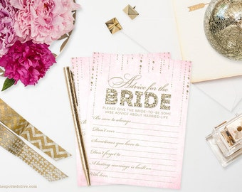 Glitter Look Advice for the Bride Cards DIY Printable Instant Download