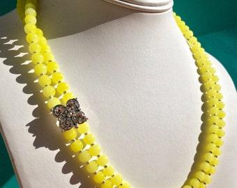 Citron Embellished Beaded Necklace