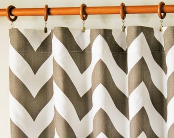"Pair 25 "" wide Italian brown BIG zippy chevron curtain panels drapes curtains zig zag 25x63 25x84"" 25x96"" or 25x108""- can add grommets"