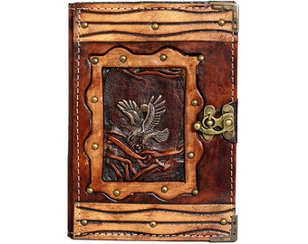 Diving Eagle Pendant On A Brown Leather Journal / Notebook / Diary / Sketchbook / Leatherbound