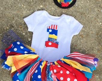 Circus birthday outfit, Red, Yellow, Blue and Turquoise Birthday Outfit - carnival tutu - shabby chic outfit, mini top hat