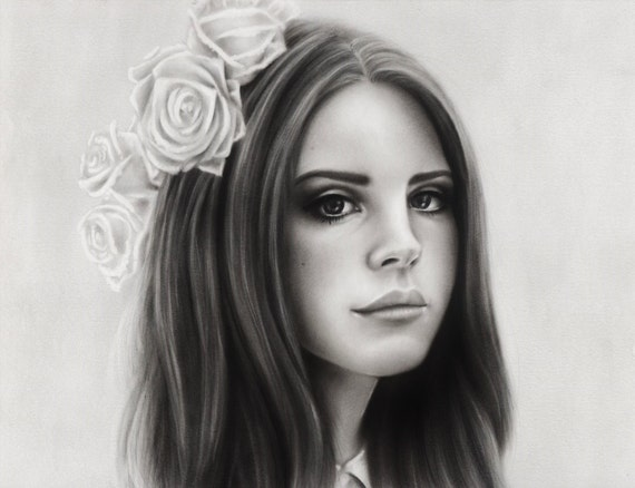 Lana Del Rey Oil Paint Portrait Art Print by idlemindsworkshop