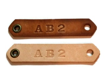 Custom Personalized Hand Stamped Leather Tag for Paracord Bracelet/necklace (75 pack)