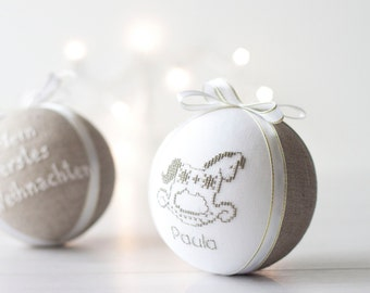 Baby's first christmas ornament, custom christmas decoration natural linen decorated with cross stitch picture