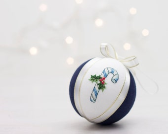 Handmade christmas decoration, christmas ornament with cross stitch picture