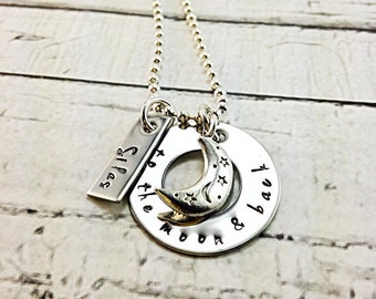 To the moon & back, personalized, hand stamped, mom/grandma necklace