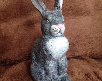 "Realistic bunny 9 1/2"" tall."