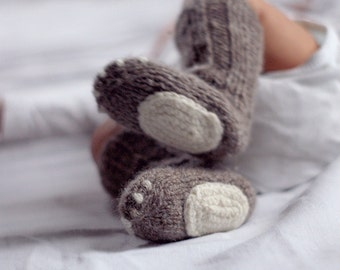 Newborn wool socks - Knitted natural wool baby socks - Playful baby socks  - Animal feet baby socks