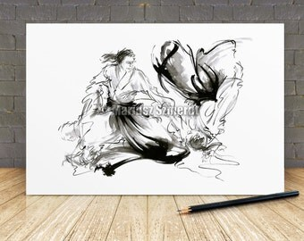 AIKIDO Martial Arts Boken Fight Karate Black randori White GICLEE fine art print of watercolor and ink PAINTING