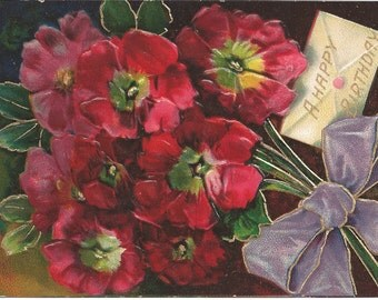 1909 Postcard Happy Birthday with Red Flowers