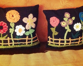 Black Crocheted Flower Pillow