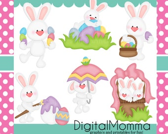 Easter, Spring, Easter Bunnies, Easter Bunny, Easter Rabbits Clipart, Personal, Commercial Use, Instant Download