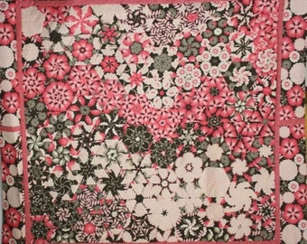 Unfinished Quilt Top Ready to Quilt One Block Wonder Lap Throw Quilt Pink Cream Brown