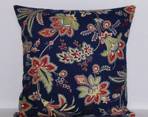 Navy Indigo Blue Pillow Cover Floral Botanical Tan Taupe Khaki Crimson Red Decorative 16x16 18x18 20x20 22x22 12x16 12x18 12x20 14x22 Zipper