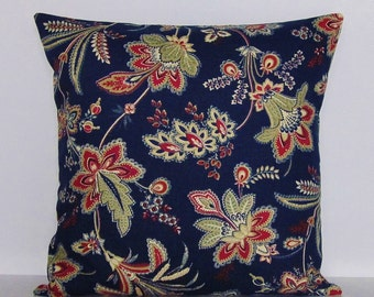 Navy Indigo Blue Pillow Cover Floral Botanical Tan Taupe Khaki Crimson Red Decorative 16x16 18x18 20x20 22x22 12x16 12x18 12x20 14x22 Zipper