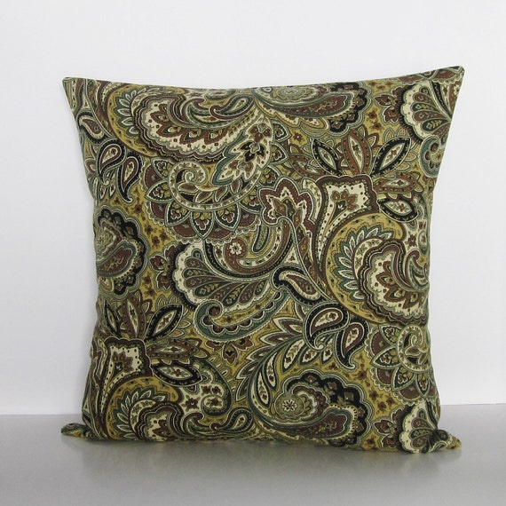 brown paisley pillow cover black ivory gray decorative throw. Black Bedroom Furniture Sets. Home Design Ideas