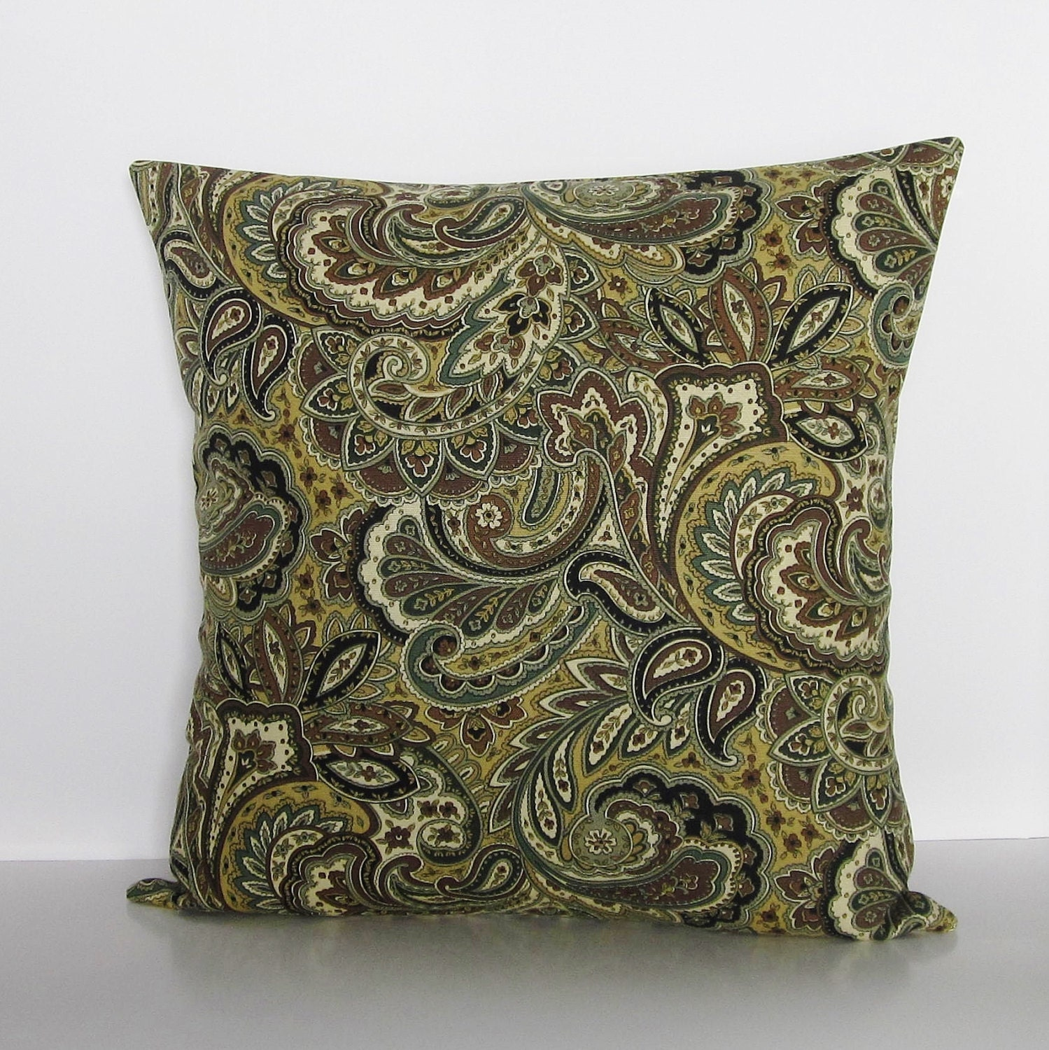 Black And Ivory Throw Pillows : Brown Paisley Pillow Cover Black Ivory Gray Decorative Throw