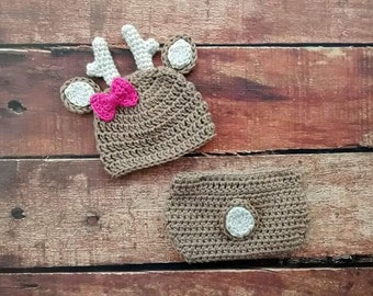 Crochet Baby Girl Deer Hat and Diaper Cover Set Bow Photography Prop
