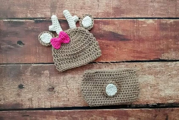 Free Crochet Deer Diaper Cover Pattern : Crochet Baby Girl Deer Hat and Diaper Cover by ...