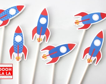 MADE TO ORDER Oooh La La Rockin' Rocket Cupcake Toppers- set of 6 or 12