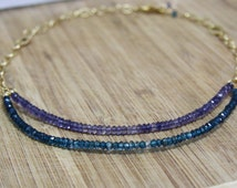 Natural Purple Iolite and Mystic Blue Topaz Rondelle Necklace in 14K Yellow Gold Vermeil , February and December Birthstone , on sale