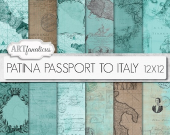 "Maps 12x12 digital papers, ""PATINA PASSPORT to ITALY 12x12"" Italian, Italy, travel backgrounds,patina, sepia,vintage map,passport, postage"