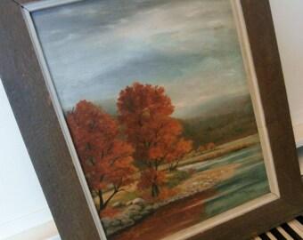 Vintage, Framed, Oil Paintnig, Original, Signed, Autumn Foliage, Landscape
