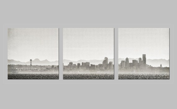 FREE SHIPPING. Seattle Skyline Silhouette. Pacific Northwest. Urban Photography. Metal Triptych. Monochrome Prints by OneFrameStories.