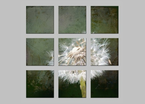 Dandelion Seedhead. Flowers. FREE SHIPPING. Tic Tac Toe Photo Split. Nine Metal Prints. Dreamy Nature Photography by OneFrameStories.
