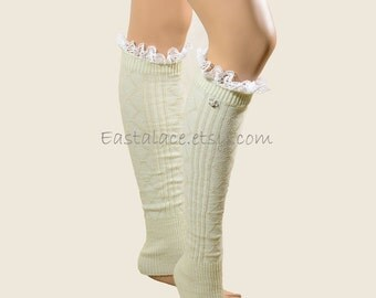 Ivory Legwarmers Boot Socks -Women's Knit Sock Leg Warmers Victorian Embroidery Lace Trim Top