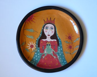 """FAIRY TALE PLATE,  Frog Prince, Princess with Frog Plate,  11"""" dia Goddess Plate,"""