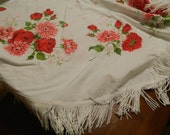 Vintage round tablecloth Patio Red Pink roses Startex? glamping,camping,picnic umbrella Mad Men