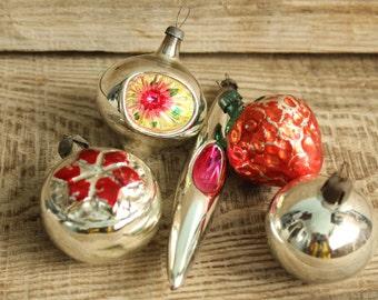 Christmas ornaments ... set of 5 Soviet Vintage Christmas ornaments Made of Glass in USSR, christmas tree decoration