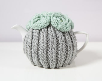 Silver Grey Hand Knit Tea Cozy with Mint Green Crocheted Flowers.Teapot Cozy. hand Knit Tea Cozy. Tea-Lovers Gift.