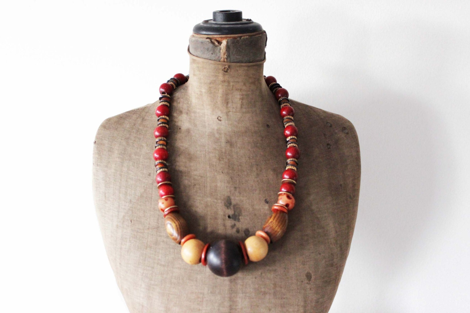 wood black bead necklace chunky wooden bead necklace
