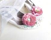 Shoe Clips, Ashy-pink flowers, Silk Flower , Handwork ,Wedding , Accessories for wedding , Accessories for women , Shoe Accessories