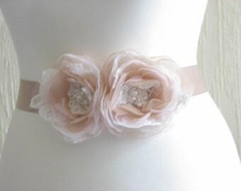 Champagne sash Champagne bridal dress Blush ivory sash Champagne blush sash Champagne wedding sash Blush bridal dress sash Champagne flowers