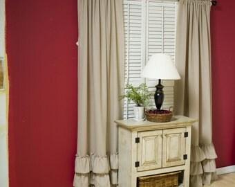 SALE shabby chic curtains, curtains, custom curtains, window curtains, prairie curtains,ruffle curtains, ruffle Bottom Curtain 10 colors