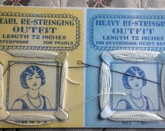 "Vintage 1920s Flapper Pearl Restringing Kit // original Art Deco advertising card, unused, 72"" strands"