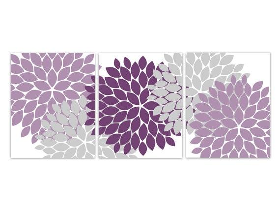 Home Decor Wall Art Instant Download Purple Grey Flower Burst Art Bathroom Wall Decor