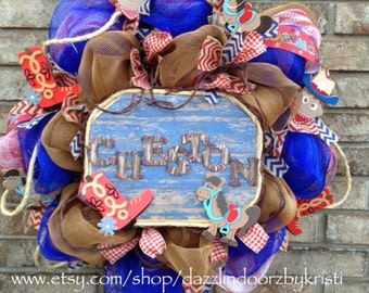 Cowboy Baby Boy Western Wreath with Rope