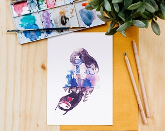 Monster in the Shadow Art Print, Watercolor, Ink, Surreal